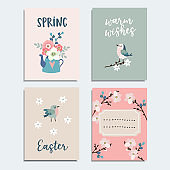Set of cute spring, Easter greeting cards, invitations with flowers, cherry blossoms, birds and tea pot. Isolated vector collection