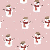 Cute Christmas seamless pattern with snowmen and falling snowflakes. Hand drawn kids nordic design. Winter vector illustration background.