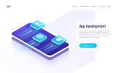 Mobile app development isometric concept. Vector illustration.