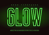 Glowing vector linear neon typefaces, alphabet, letters, font, typography