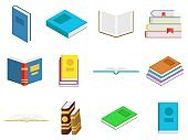 Colored books icons set in flat design style. Books in a stack, open, in a group, closed. Reading, learn and receive education through books. Vector illustration