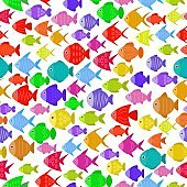 Colorful fish seamless pattern. Underwater diving animal - tropical fish. Aquarium fishes vector illustration