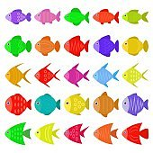 Cute colorful fish icons set in flat style. Tropical fish, sea and aquarium fish set isolated on white background. Vector illustration