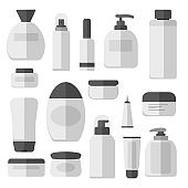 Set vector blank templates of empty and clean white plastic containers: bottles with spray, dispenser and dropper, cream jar, tube. Cosmetic vector illustration