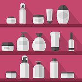 Cosmetic on shelves. Set vector blank templates of empty and clean white plastic containers: bottles with spray, dispenser and dropper, cream jar, tube. Cosmetic vector illustration