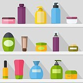 Cosmetic bottles template set on the shelf witj shadow. Tubes and vials cosmetics. Cream, shampoo, gel, spray and soap. Vector illustrtaion