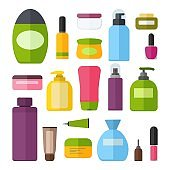 Set of vector colorful cosmetic bottles. Tubes and vials cosmetics. Tools for beauty and cleanser, skin and body care, toiletres. Cream, shampoo, gel, spray and soap. Vector illustrtaion