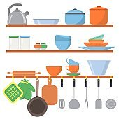 Kitchen equipments and utensils big set icons on shelf isolated on white background. Cooking tools objects collection. Kitchenware in flat style