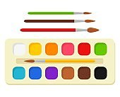 Set of bright watercolor paints in box with paint brushes. Colorful palette. Tools and accessories for designer, illustrator, artist. Artistic creative works, art, hobby, occupation. Vector
