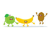 Funny fruits characters. Apple, banana and kiwi