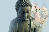 Buddha head with blossom cherry branches