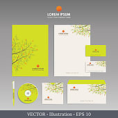 Corporate identity template for business artworks. Editable corporate identity template - design including CD, letterhead blank, envelope and visiting card. Vector illustration