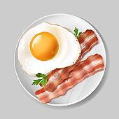 Vector 3d realistic english breakfast - bacon, egg