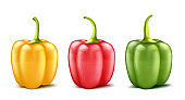 Vector set of three realistic bell peppers