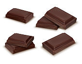 Vector 3d realistic dark chocolate bars, pieces