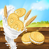 Vector promotion banner for milky cookies brand