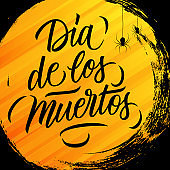 Dia de los Muertos (Day of the Dead) mexican traditional holiday greeting card with orange circle brush stroke background and hand lettering text.
