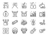 Passive income line icon set. Included the icons as Financial freedom, expenses, fee, investing and more