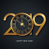 2019 New Year greeting card with holiday greetings Happy New Year and golden colored new year clock on black background.