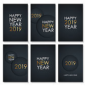 2019 Happy New Year celebrate flyers set with golden colored elements and black background.