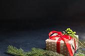 christmas gift background red mistletoe fir decor