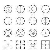 Crosshairs icon vector set