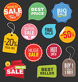 Sale stickers and tags vector illustration collection