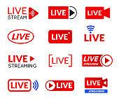 Live stream icon set, online broadcasting symbol