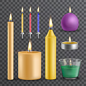 Realistic flame and light, burning candle set