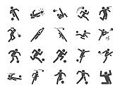 Soccer in actions icon set. Included icons as football player, goalkeeper, dribble, overhead kick, volley kick, shoot and more.