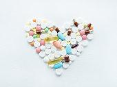 pill mix heart shape medication illness cure white