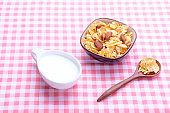 Breakfast corn flake on table
