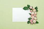 empty white paper card roses invitation mockup