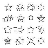 Stars line icon set