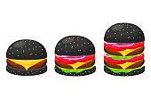 Black hamburgers set