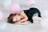 little tired princess sleeping carefree childhood