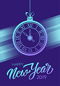 Happy New Year 2019 celebrate poster with hand drawn lettering and new year clock for new year holiday greetings and invitations.