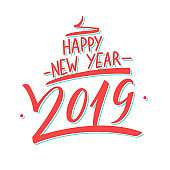 2019 Happy New Year hand drawn lettering design card template. Creative typography for holiday greetings and invitations.
