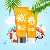 Realistic 3d Detailed Sunscreen Sun Protection Card. Vector