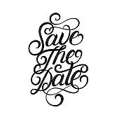 Save the date hand written lettering.