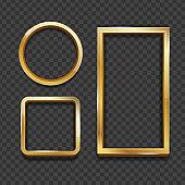 Realistic 3d Detailed Golden Frame Set. Vector