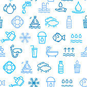 Pool and Water Signs Seamless Pattern Background. Vector