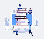 E-learning, online education design concept.