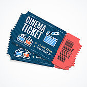 Cinema Movie Tickets Set with Elements. Vector