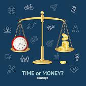 Time or Money Concept. Vector