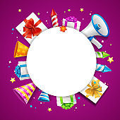 Realistic Detailed 3d Party Placard Banner Card. Vector