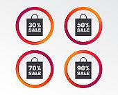 Sale bag tag icons. Discount symbols.