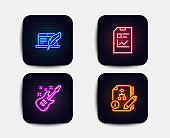 Copyright laptop, Report document and Electric guitar icons. Algorithm sign. Vector