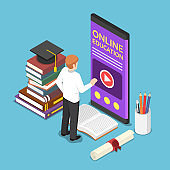 Isometric businessman using e-learning or online education application on smartphone