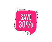 Save 30% off. Sale Discount offer price sign.